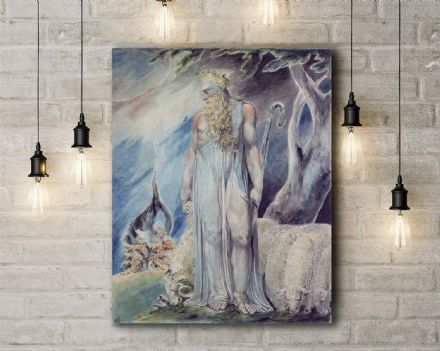 William Blake: Moses and the Burning Bush.  Religious/Mythological Fine Art Canvas.